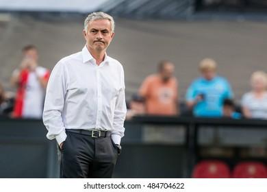 NETHERLANDS, ROTTERDAM - September 15th 2016: the Feijenoord stadium de Kuip during the Europea league match Feyenoord vs Manchester United , trainer coach Jose Mourinho