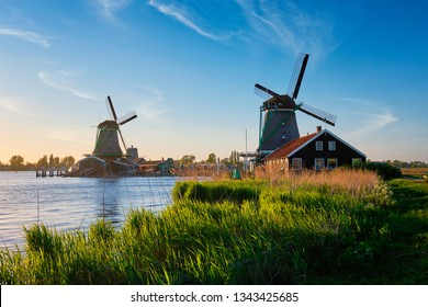Netherlands rural lanscape Windmills at famous tourist site Zaanse Schans in Holland. Zaandam, Netherlands