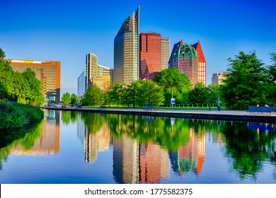 Netherlands Travel Destinations. The Hague Skyscrapers Skyline at Blue Hour in The Netherlands. Horizontal Image Composition