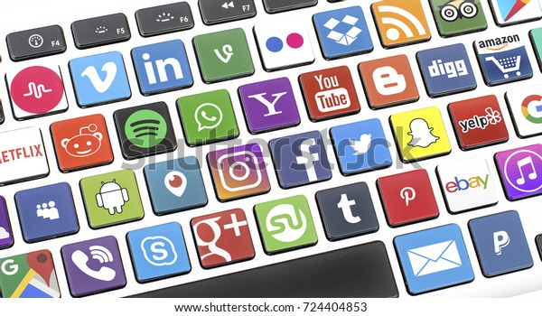 Netherlands, Veelerveen 29 sept 2017: Social media icons on a computer keyboard. Social media are trending and are a growing group of entertainment and media applications.