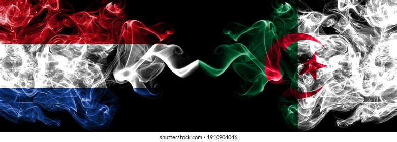 Netherlands vs Algeria, Algerian smoky mystic flags placed side by side. Thick colored silky abstract smoke flags.