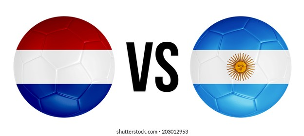 The Netherlands VS Argentina soccer ball concept isolated on white background