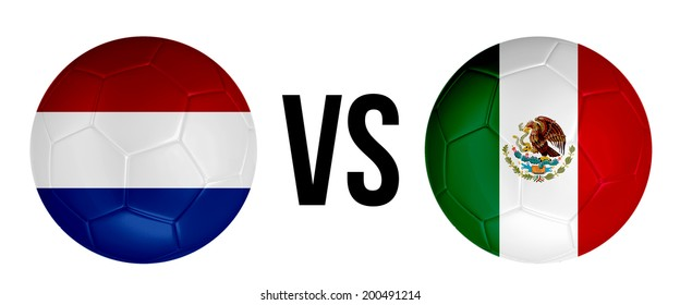 The Netherlands VS Mexico soccer ball concept isolated on white background
