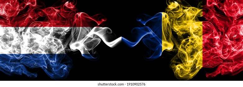 Netherlands vs Romania, Romanian smoky mystic flags placed side by side. Thick colored silky abstract smoke flags.