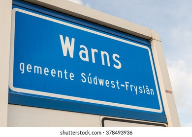 NETHERLANDS - WARNS - MEDIO FEBRUARI 2016: Warns place name, a village in South-West Friesland, Netherlands.