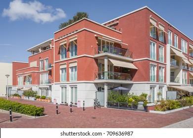 NETHERLANDS - WASSENAAR - SEPTEMBER 2, 2017: Modern appartments in project Havenaer in Wassenaar, Netherlands.