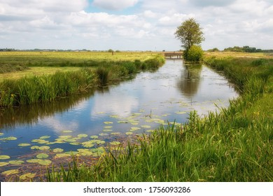 The Netherlands a wet country full of ditches and canals, sailing boats and vast plains with grassland, photos taken in Friesland Gaasterland region