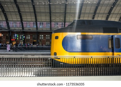 Netherlands,Amsterdam - 21 April 2017: Engine of NS Holland train at Amsterdam Central railway station