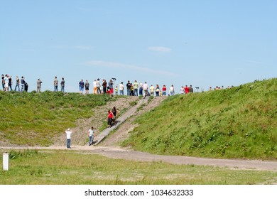 Netherlands,Drenthe,Assen,may 2016: a dike for viewers on the races
