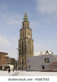 NETHERLANDS-FEB 3:Martinitower and new tourist information on Grote Markt in Groningen on Feb 3, 2012. Part of the Grote Markt  has been demolished to make room for the new 'Groninger Forum""