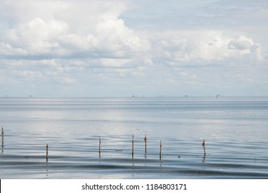Netherlands,Friesland,Afsluitdijk, july 2018:Fishing nets, placed along the Aflsluitdijk in a calm peacfull IJsslemeer