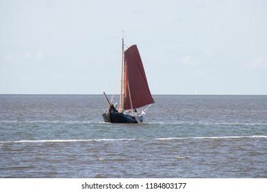 Netherlands,Friesland,Afsluitdijk, A sailing ship at the IJsselmeer