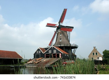Netherlands,Friesland,IJlst,august 2017: Wood-saw-mill De Rat is still working