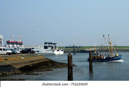 Netherlands,Groningen,Lauwersoog,july 2017: Fishery in the harbor of Lauwersoog