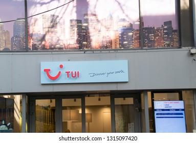 Netherlands,Heerlen,februari 2019:Shop,exterior with logo tui
