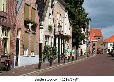 Netherlands,Holland,Dutch,North Brabant, Woudrichem, may,2016:Street view of Woudrichem