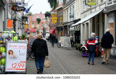 Netherlands,Holland,Dutch,North Holland,Weesp,June 2016: shopping street  in the centre of the city