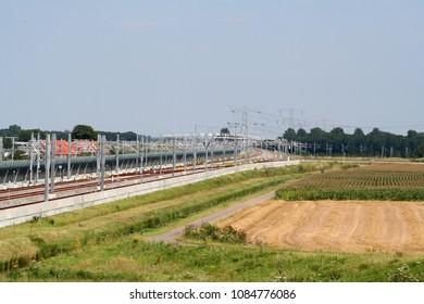 Netherlands,Holland,Dutch,Utrecht,Betuwe lijn,june 2017:Railway trace The Betuwe lijn or track