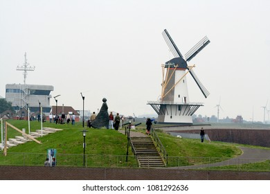 Netherlands,Holland,Dutch,Zeeland,Vlissingen, june 2016:Historic wind-mill called Orange-mill