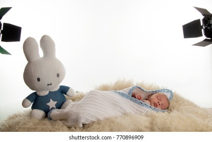 Netherlands,Limburg,Heerlen,november 2017: A new born baby is posing in the photostudio for his first photohoot laying under the studio-lights in company of Nijntje