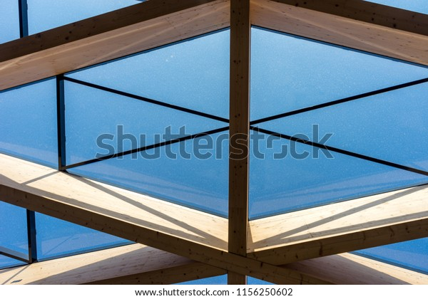 Netherlands,Lisse,Europe, LOW ANGLE VIEW OF SKYLIGHT