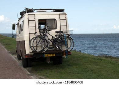 Netherlands,North-Holland,Medemblik,july 2018:Camper parked on the Zuiderdijk