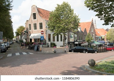 Netherlands,North-Holland,Medemblik,july 2018:Crossing West harbor and Cheese market