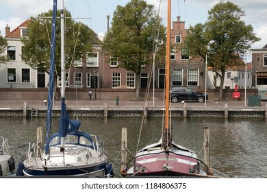 Netherlands,North-Holland,Medemblik,july 2018:East harbor (Oosterhaven) is the entrance to Medemblik from the IJsselmeer
