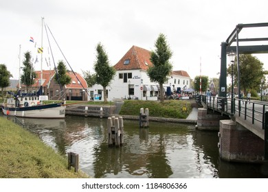 Netherlands,North-Holland,Medemblik,july 2018:Old fishing boat is mooring in the Oosthaven near the Kwikkelsebrug