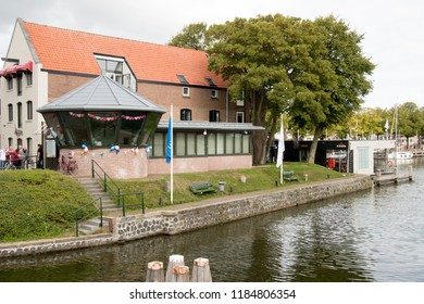 Netherlands,North-Holland,Medemblik,july 2018:Port office at the Oosthaven