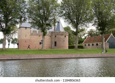 Netherlands,North-Holland,Medemblik,july 2018:Radboud Castle  is a castle on the east bank of the harbour in Medemblik.