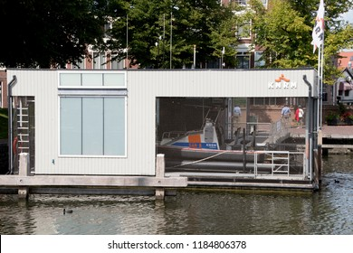 Netherlands,North-Holland,Medemblik,july 2018:Resque boat in the  East harbor (Oosterhaven) is the entrance to Medemblik from the IJsselmeer