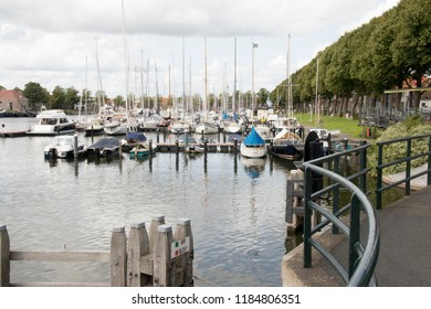 Netherlands,North-Holland,Medemblik,july 2018:Westhaven seen from the Kwikkelsbrug