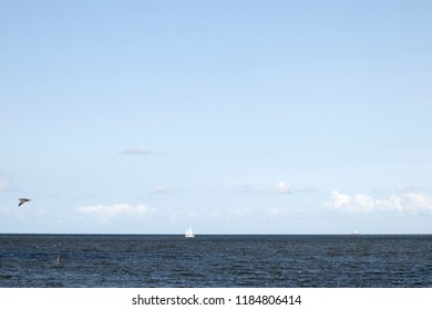 Netherlands,North-Holland,Medemblik,july 2018:Wide view on the IJsselmeer