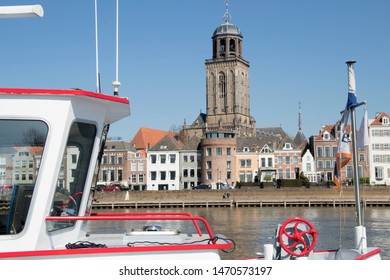 Netherlands,Overijssel, Deventer,april 2019: IJssel boulevard in Deventer seen from the ferry