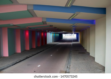 Netherlands,Overijssel,Deventer,april 2019:bike tunnel in the centre
