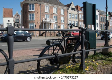 Netherlands,Overijssel,Deventer,april 2019:LiParked bikes up and arround the river IJssel
