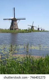 Netherlands,South Holland, Alblasserwaard, Kinderdijk ,june 2016: windmill seen over the water