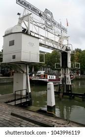 Netherlands,South Holland,Dordrecht , june 2016: Boat lift in the Kuipershaven