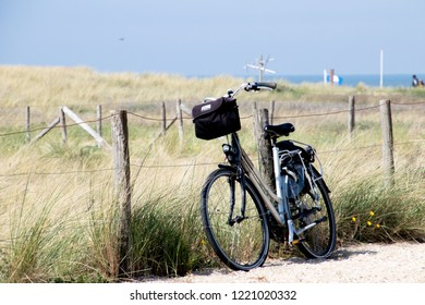 Netherlands,south holland,Noordwijk,august 2017: Bike parked at the dunes