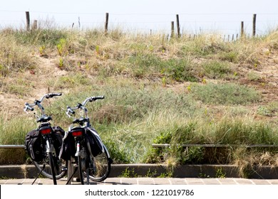 Netherlands,south holland,Noordwijk,august 2017: Bikes parked at the dunes