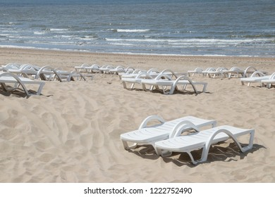 Netherlands,south holland,Noordwijk,august 2017:beach chairs for rental