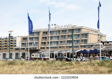 Netherlands,south holland,Noordwijk,august 2017:Beach Hotel on the traffic on the Queen Wilhelmina Boulevard
