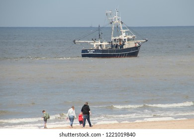 Netherlands,south holland,Noordwijk,august 2017:Fishing boat near the coast