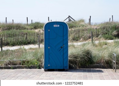 Netherlands,south holland,Noordwijk,august 2017:Mobile toilet on the Boulevard
