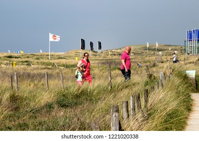 Netherlands,south holland,Noordwijk,august 2017:People walking in the dunes