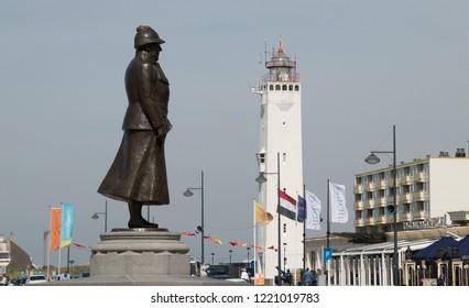 Netherlands,south holland,Noordwijk,august 2017:statue of Queen Wilhelmina  on the  Boulevard