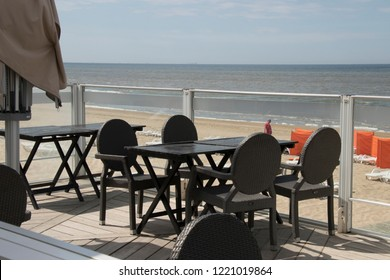 Netherlands,south holland,Noordwijk,august 2017:Terrace on the beach