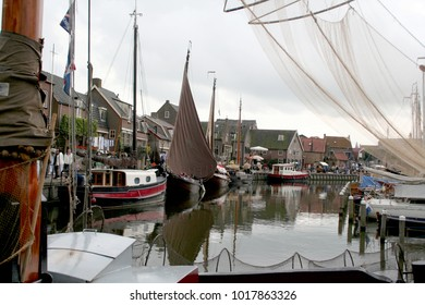 Netherlands,Utrecht,Spakenburg,july 2017:Historical fisching boats moored in the old harbor