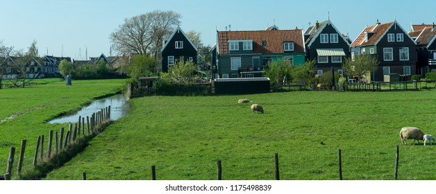 Netherlands,Wetlands,Maarken,Europe, VIEW OF A FIELD WITH BUILDINGS IN BACKGROUND